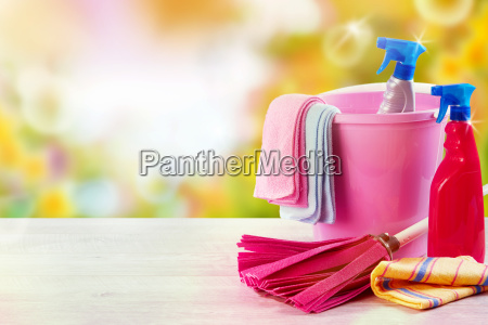 colorful domestic cleaning equipment on a