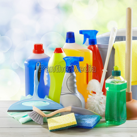 assorted generic cleaning supplies and brushes