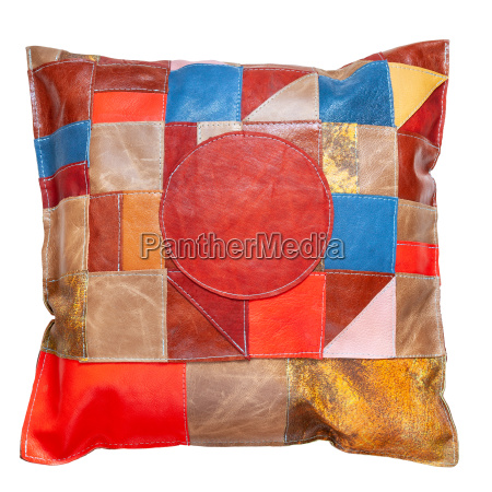 handmade motley patchwork leather pillow