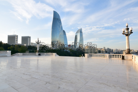 panorama of baku from a highland