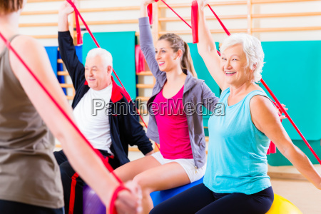 senior people at fitness course in