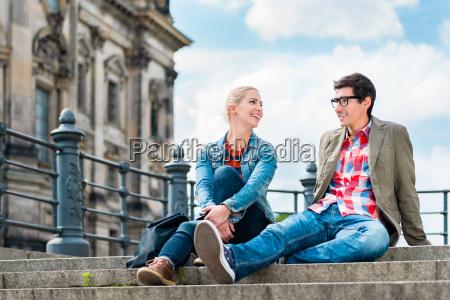berlin tourists enjoying view from bridge