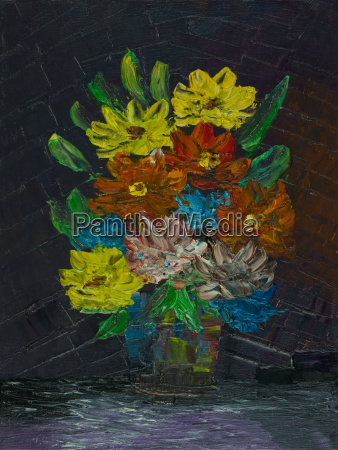 colourful flowers with a smoothed background