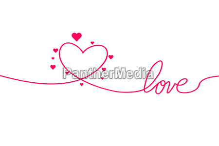 love with hearts in continuous drawing