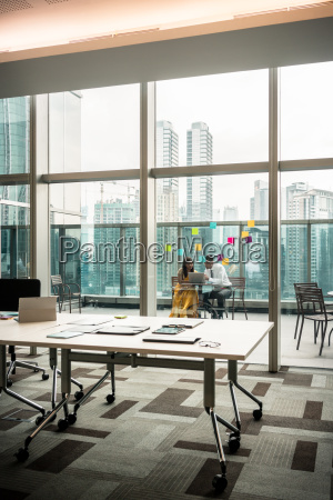 modern empty office with transparent glass