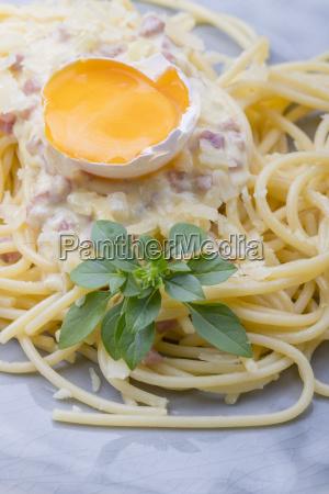 spaghetti carbonara on a white plate