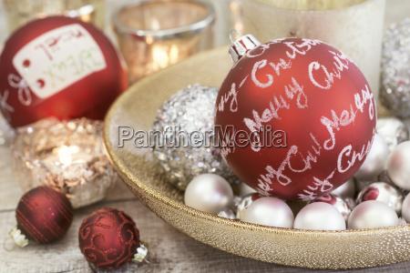 silver red christmas still life