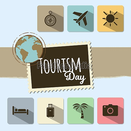 world tourism day card on blue