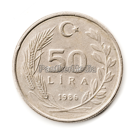 old turkish coin on white background