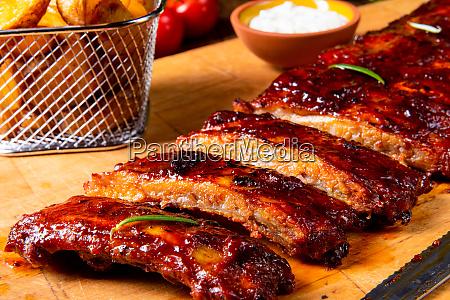 bbq spareribs on the plate with