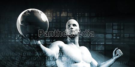 businessman holding global network