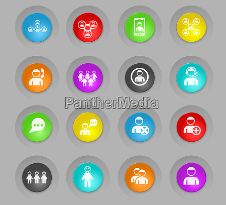 community colored plastic round buttons icon