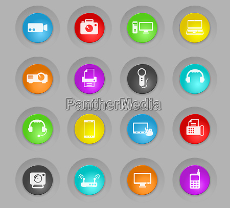 gadget colored plastic round buttons icon