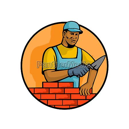 african american bricklayer mascot