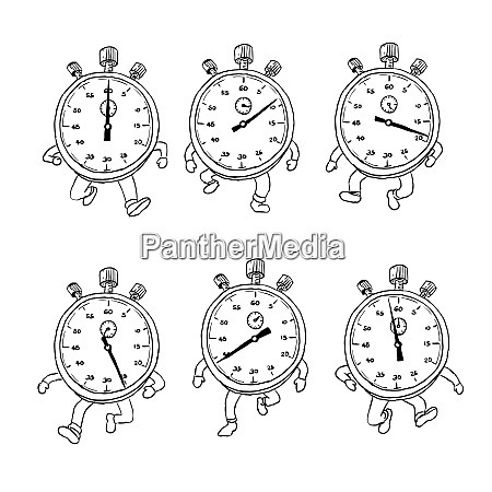 stopwatch running run cycle drawing sequence