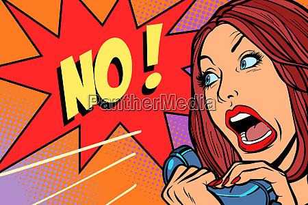 no negation woman screams in phone