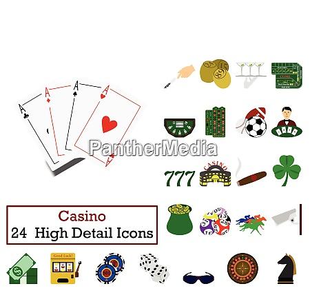 set of 24 casino icons