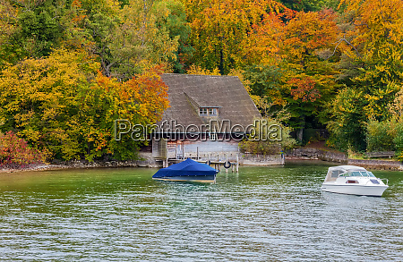 hut in autumn
