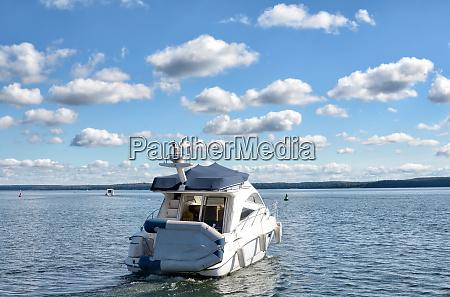 motorboat in mecklenburg lake district mecklenburg