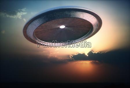 alien ship ufo sunset sky