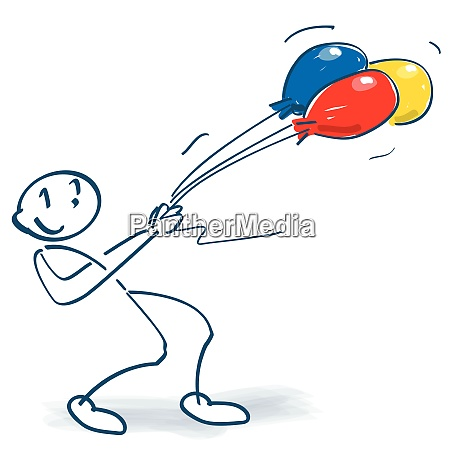 stick figure with balloons in the