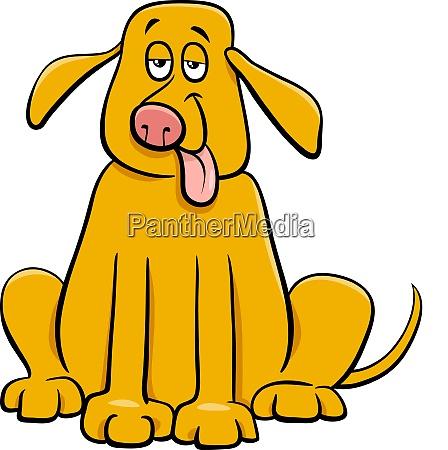 funny yellow dog pet cartoon character