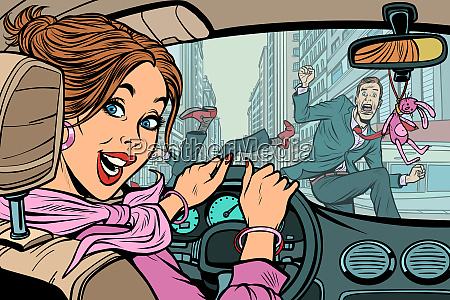 joyful woman driver accident on road