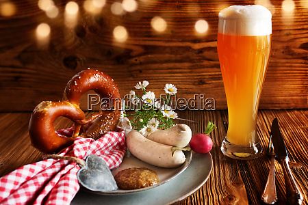oktoberfest with beer and white sausage