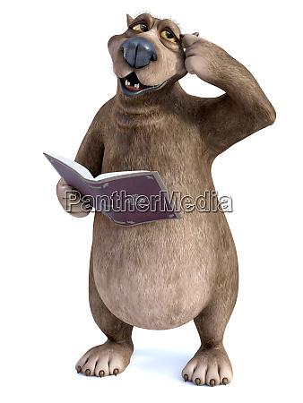 3d rendering of cartoon bear reading