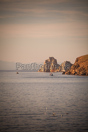 shaman rock on lake baykal in