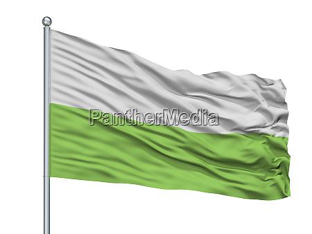urumita city flag on flagpole colombia