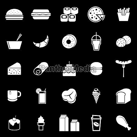popular food icons on black background