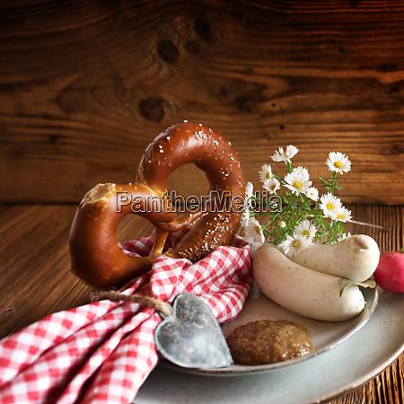 bavarian white sausage with salt pretzel