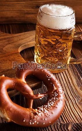 bavarian beer and salt pretzel