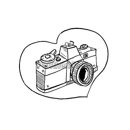 vintage 35mm slr fotocamera cuore disegno