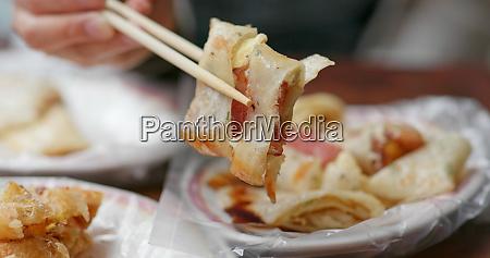 having taiwanese breakfast chinese egg pancake