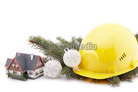 construction hard hat and christmas