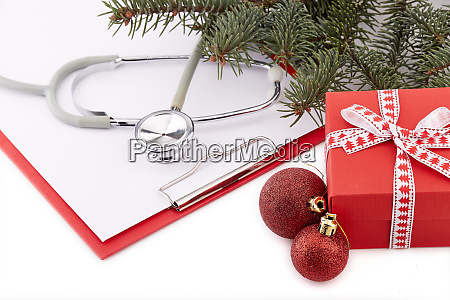 stethoscope and christmas decorations