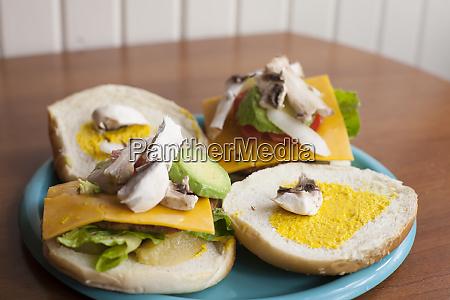 mushroom avacado veggie burger