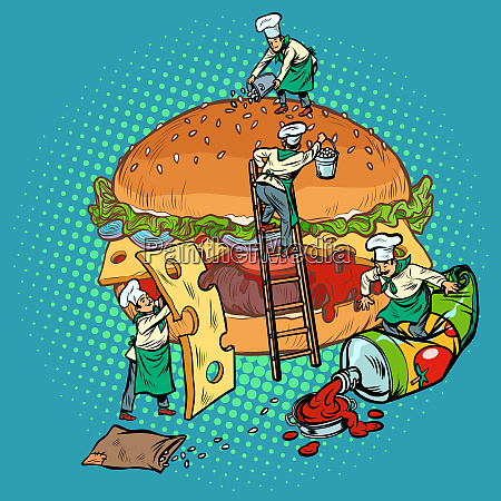 cooking burger mini chefs gather ingredients