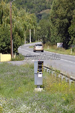 road radar measuring the speed of