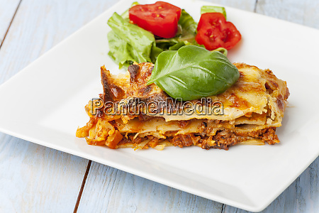 fresh italian lasagna on a plate