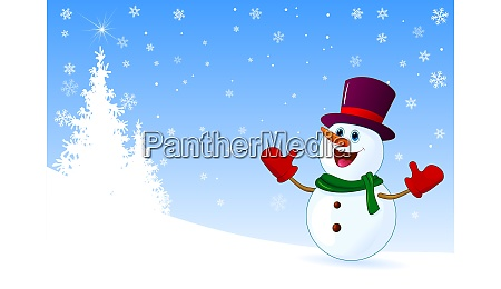 cute joyful snowman welcomes