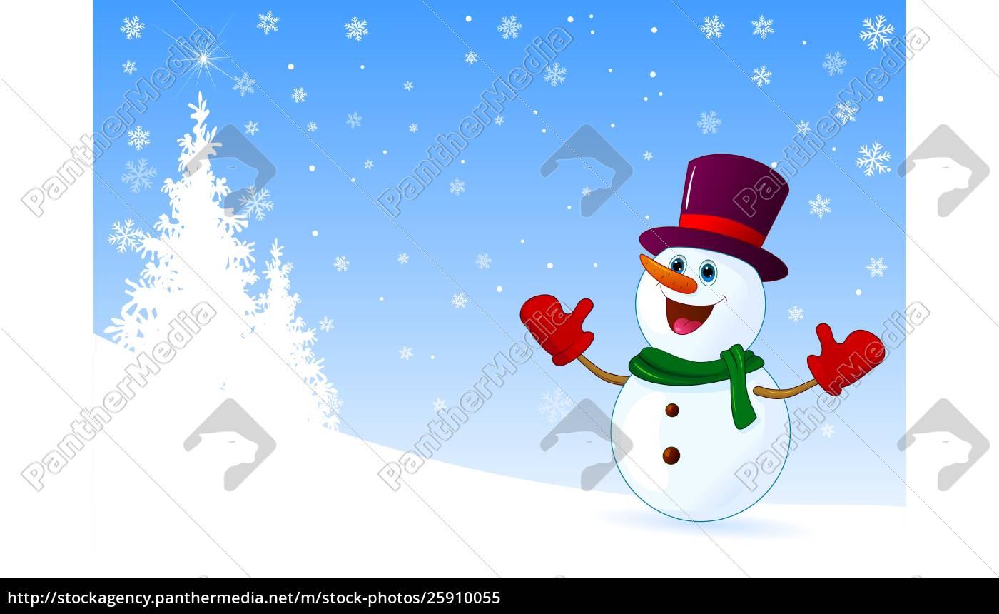 cute, joyful, snowman, welcomes - 25910055