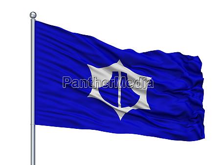 omihachiman city flag on flagpole japan