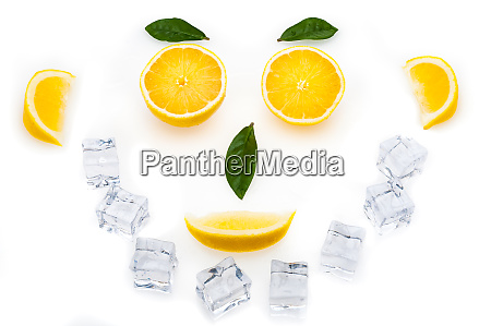 bright lemon slices green leaves and
