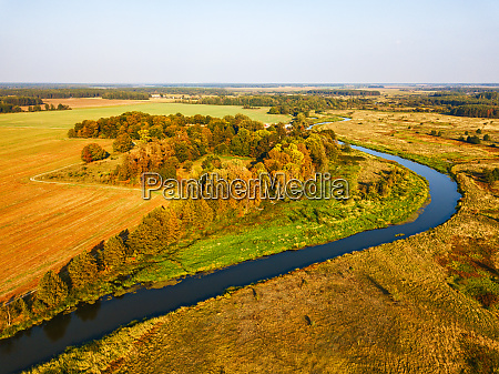 agriculture view from above autumn woods