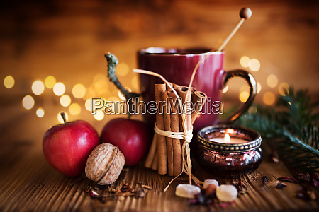 decoration in winter with candle and