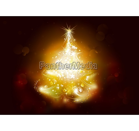 christmas background with starry tree