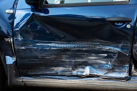 close up of damaged car